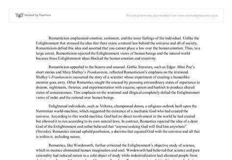 Romanticism Essay by Romanticism Essay Exles