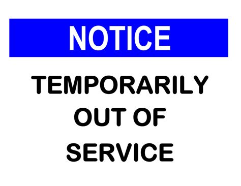 Out Of Order Sign Out Of Service Sign Template