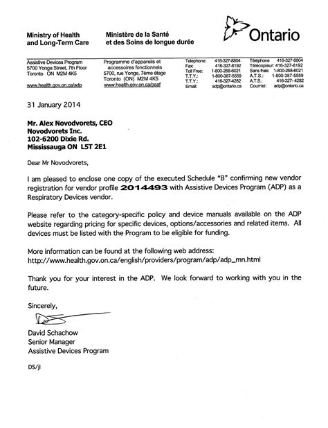 Employment Letter For Ohip Adp Division Of Ohip That Pays Toward Cpap Machine And Cpap Mask In Ontario Canada