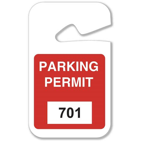 Hanging Parking Pass Template by Brady Part 96277 Rearview Mirror Hanging Tags Bradyid