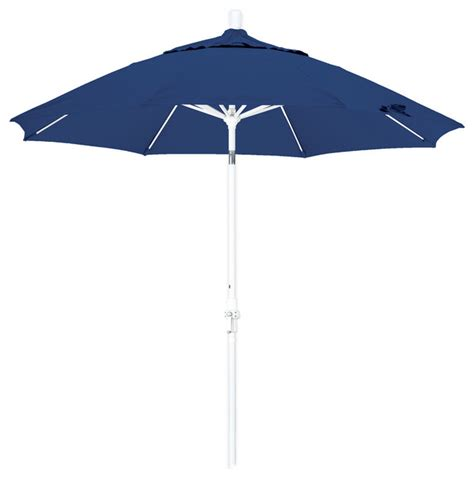 Olefin Patio Umbrella 9 Foot Olefin Fabric Crank Lift Tilting Aluminum Patio Umbrella With White Pole Contemporary
