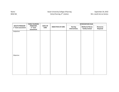 nursing care plan template word ncp format
