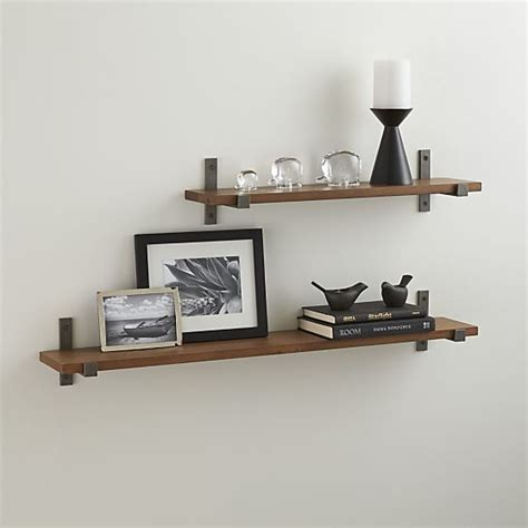 styles wood shelf with iron brackets crate and barrel