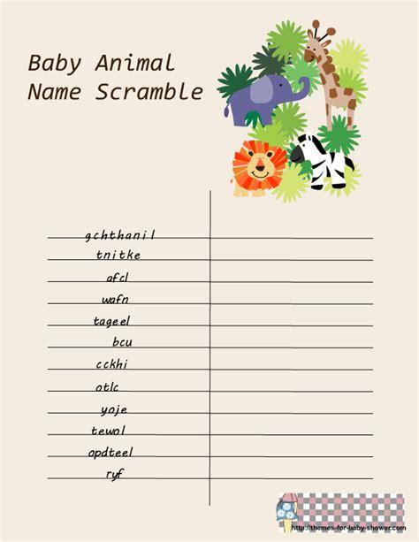 printable baby animal name game free printable safari baby shower games
