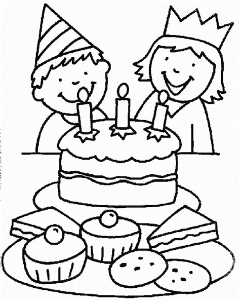 free coloring pages birthday party small birthday cake coloring page image inspiration of