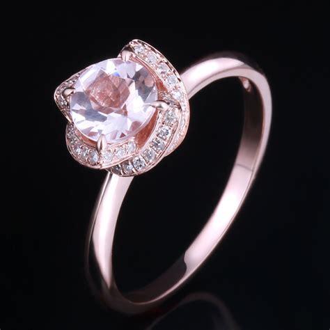 diamonds 10k gold 6 5mm cut halo pink morganite