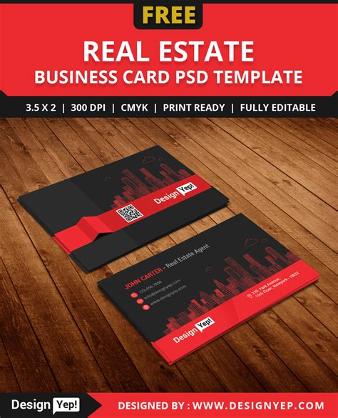 real estate business card templates free free real estate business card template psd designyep