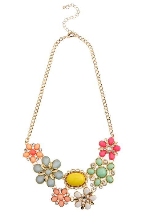 colorful statement necklace colorful flower statement necklace necklaces cato fashions