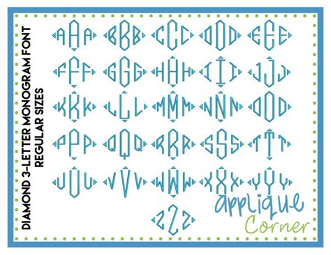 Diamond Pattern Font   applique corner applique design embroidery font diamond