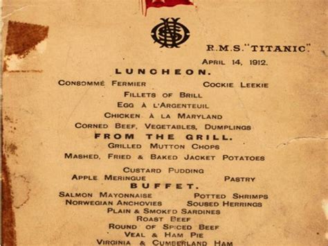 titanic menus menu from last luncheon on the titanic is to be sold at