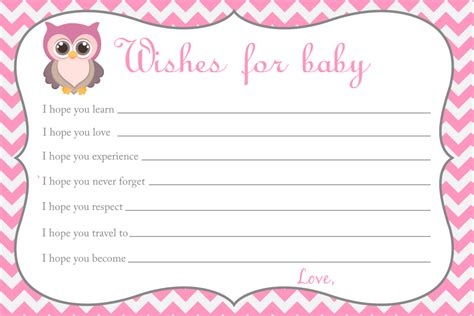 Baby Wish Cards Template by Wishes For Baby Card Owl Baby Shower Printable File