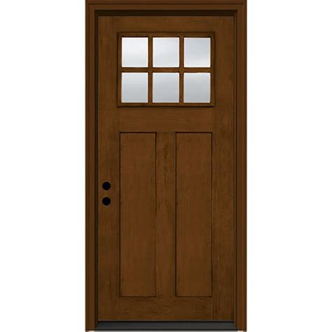 Jeld Wen Exterior Doors Reviews Shop Jeld Wen Craftsman Decorative Glass Right Inswing Stained Fiberglass Prehung