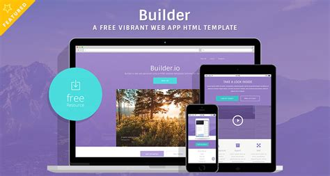 Builder A Free Vibrant Web App Html Template Free Html5 Templates App Builder Template