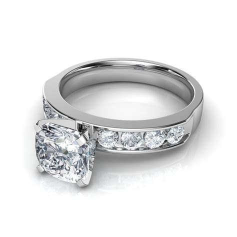 cut engagement ring with 8 side diamonds