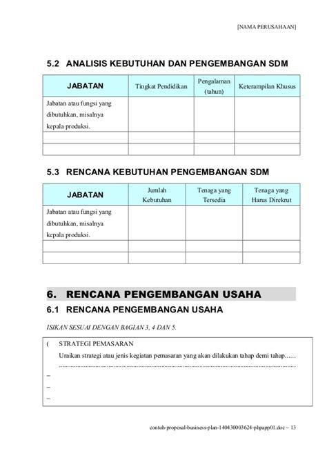 contoh business plan perusahaan contoh