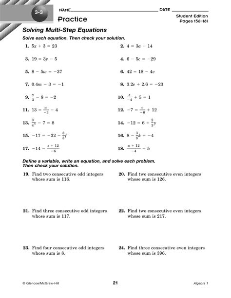 Solving Multi Step Equations Worksheet by 2 2 1 Solving Multi Step Equations Hw