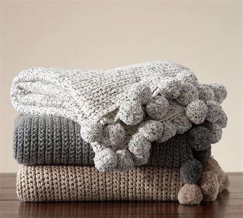 how to knit pom pom blanket pom pom crochet knit throw pottery barn