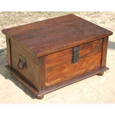 distressed rustic solid wood storage box trunk coffee