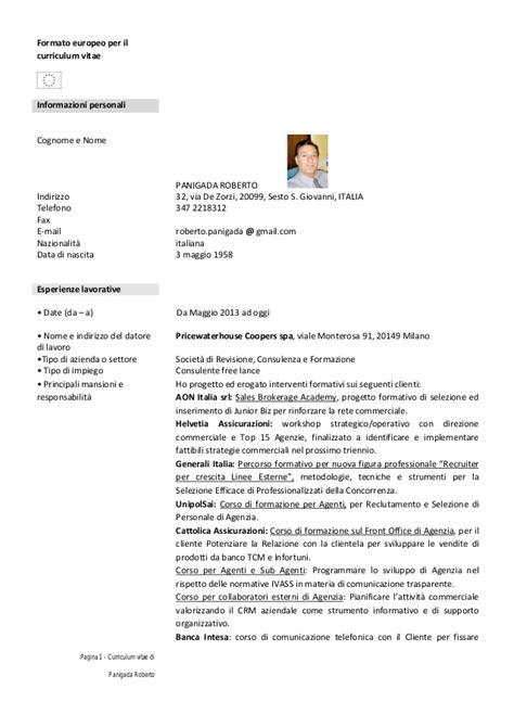 Formato Curriculum Vitae Non Europeo Formato Europeo Per Il Curriculum Vitae 2015