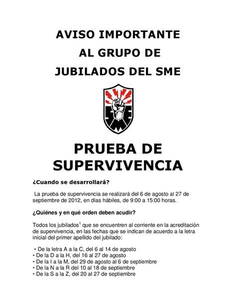 fecha de supervivencia delos jubilados de luz y fuerza septiembre aviso importante al grupo de jubilados supervivencia 2012