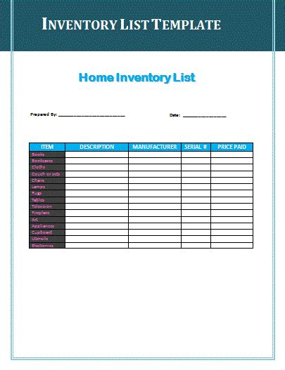 inventory list template free free inventory list template