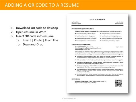 Resume Qr Code Identity Management The Qr Coded Resume