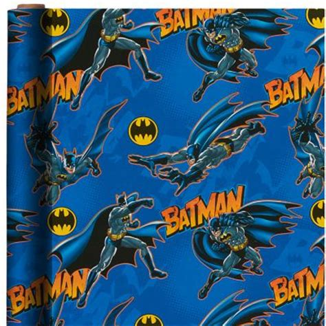printable batman wrapping paper batman gift wrap 8ft x 30in party city