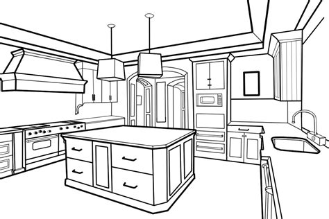 kitchen drawings drawn kitchen perspective pencil and in color drawn