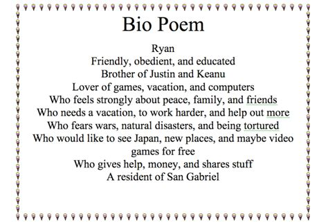 best photos of bio poem sle bio poem exles bio