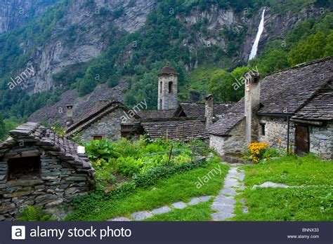 Foroglio Switzerland Canton Ticino Bavonatal Village Houses Homes Stock Photo Royalty