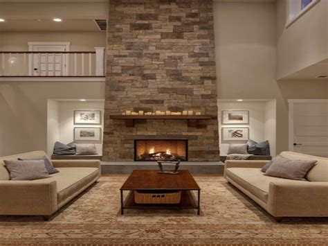 Tall sofa, beautiful great rooms with fireplaces great