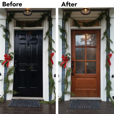 front door before and after rustic mahogany entry door overhead door company