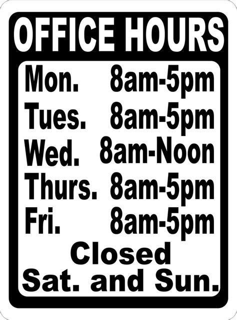 custom office hours sign signs by salagraphics