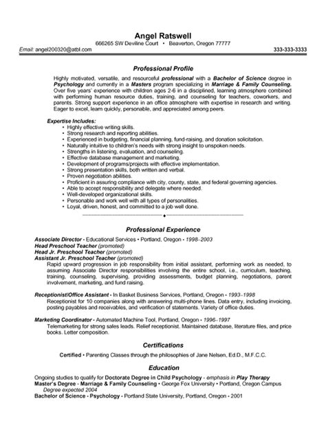 elementary education mid experience resume sles vault