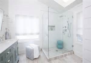 Shiplap Ceiling Bathroom Corner Glass Shower With Marble Herringbone Shower Floor