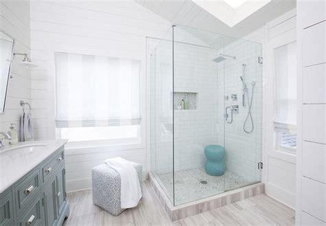 Small Bathroom Storage Ideas Pinterest by Corner Glass Shower With Marble Herringbone Shower Floor