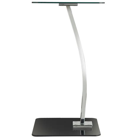 Tempered Glass Laptop vonhaus laptop stand square black tempered glass silver chrome computer table ebay
