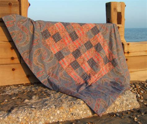 Paisley Patchwork Quilt - paisley and tartan patchwork quilt picnic blanket or travel
