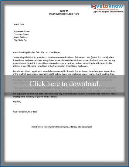 Character Reference Letter For Nursing Student exles of a character reference letter lovetoknow