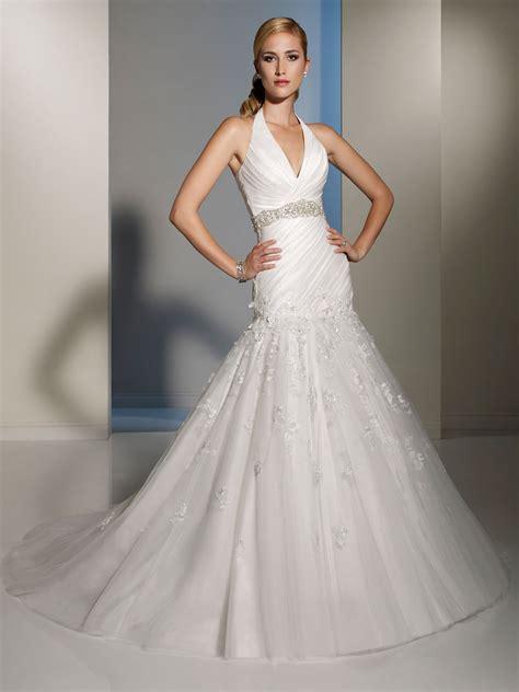 Wedding Dresser by Halter Dropped Waist Lace Wedding Dress