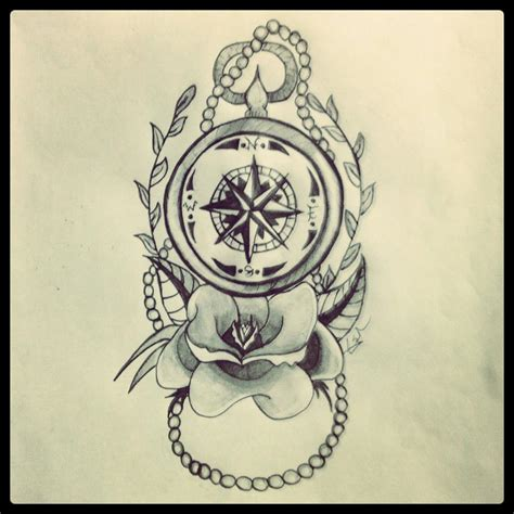pin compass drawings nautical tattoo rose on pinterest