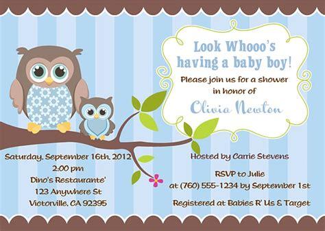 Owl Baby Boy Shower Ideas by Owl Baby Shower Invitations Boy