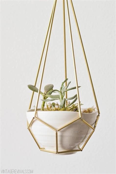 how to make hanging planters diy leather and brass teardrop hanging planter vintage