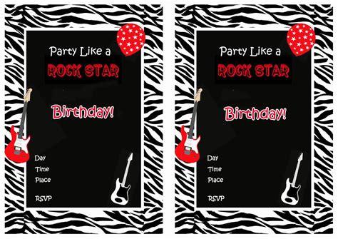 printable invitation rockstar rock star birthday invitations birthday printable