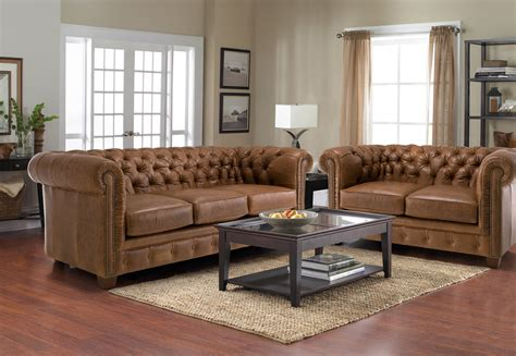 Leather Sofa In Living Room And Vintage Brown Leather Tufted Sofa With 2 And 3 Cushions In Living Room With Wooden Table