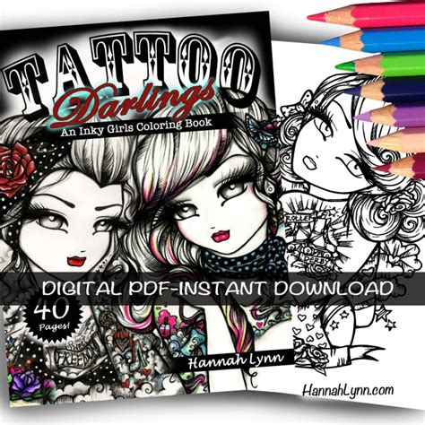 tattoo darlings  inky girls coloring book instant