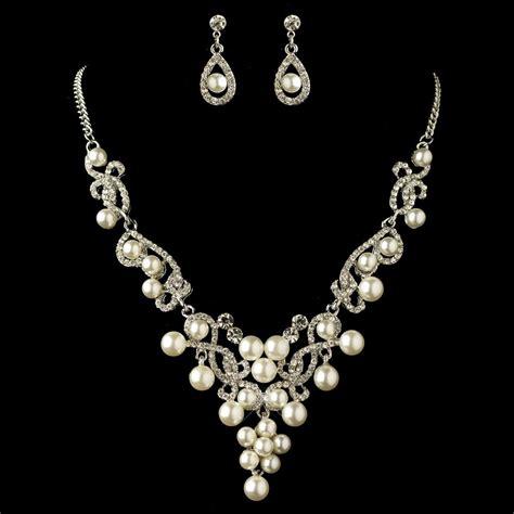 rhodium white pearl rhinestone swirl jewelry set 4213