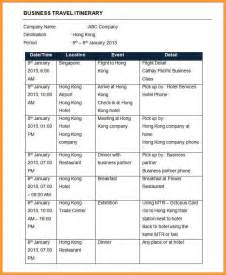 Sample Itinerary Letter Format Mail