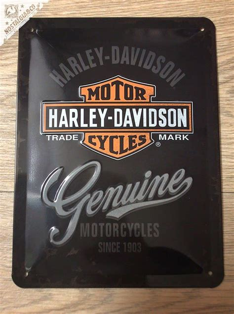 harley davidson genuine since 1903 embossed tin sign
