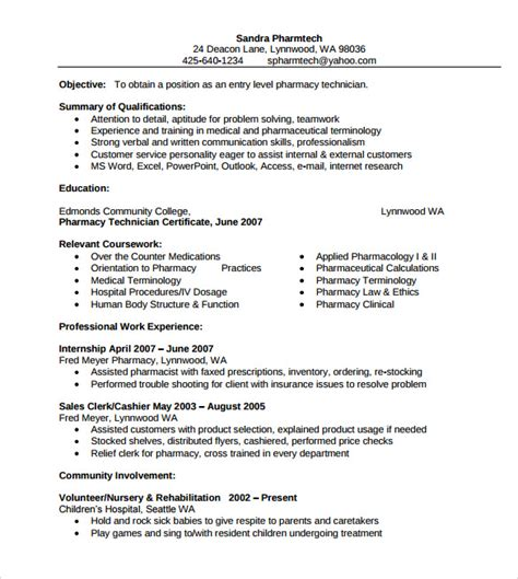pharmacist resume template sle pharmacist resume 9 documents in pdf
